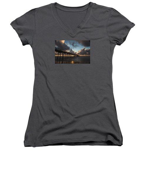 Misty Sunset Women's V-Neck T-Shirt (Junior Cut) by Ed Clark