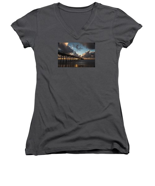 Misty Sunset Women's V-Neck T-Shirt