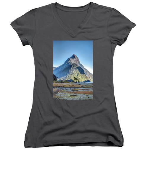 Women's V-Neck T-Shirt featuring the photograph Mitre Peak At Low Tide by Gary Eason