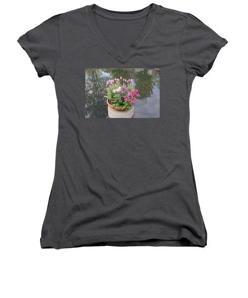 Mixed Flower Planter Women's V-Neck