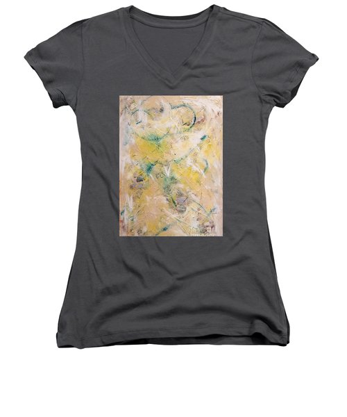 Mixed-media Free Fall Women's V-Neck T-Shirt (Junior Cut) by Gallery Messina