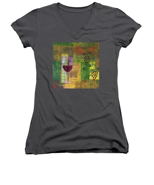 Mixed Media Painting Wine Women's V-Neck T-Shirt (Junior Cut) by Patricia Cleasby