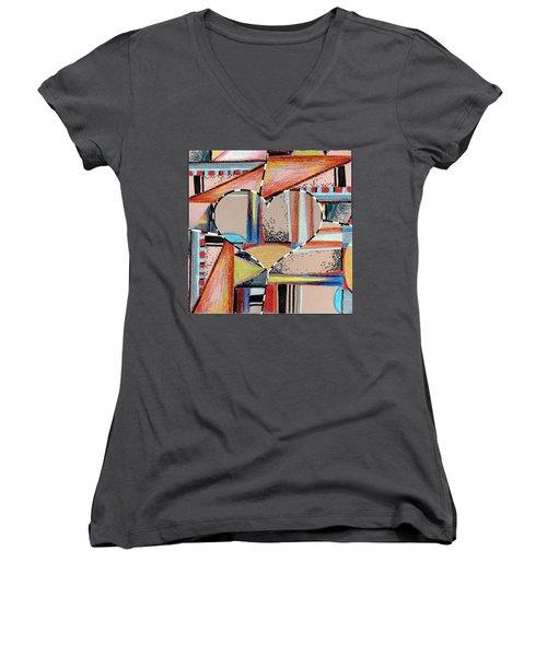 Mixed Messages Women's V-Neck T-Shirt (Junior Cut) by Mindy Newman