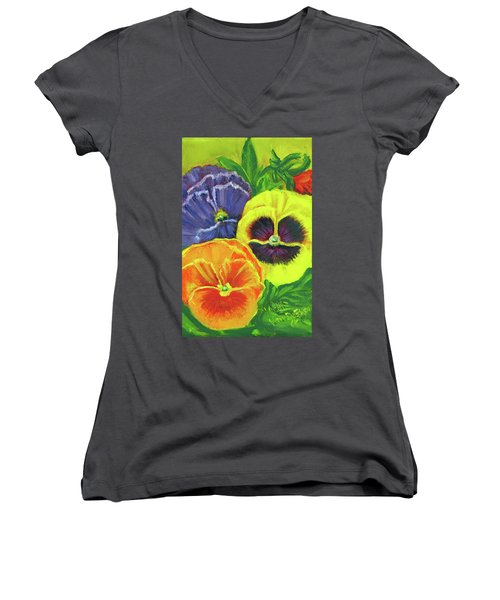 Mixed Pansy Seed Packet Women's V-Neck T-Shirt (Junior Cut)