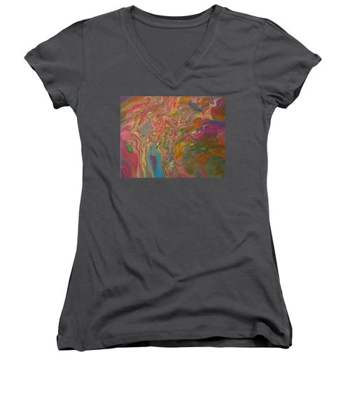 Women's V-Neck featuring the painting Mixed Rainbow by Vicki Winchester