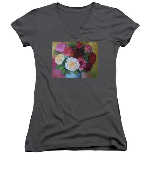 Mixed Roses In Turquoise Vase Women's V-Neck (Athletic Fit)