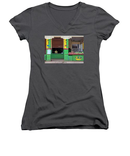 Women's V-Neck T-Shirt (Junior Cut) featuring the photograph Mjay Fruit Stand Havana Cuba by Charles Harden