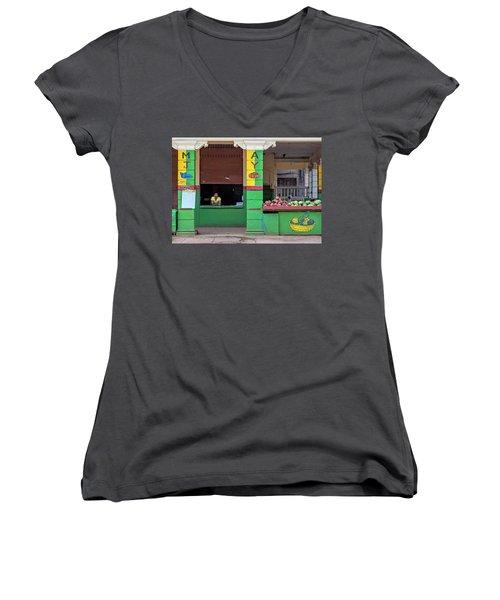 Mjay Fruit Stand Havana Cuba Women's V-Neck T-Shirt (Junior Cut) by Charles Harden