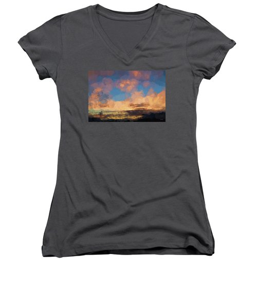 Moab Sunrise Abstract Painterly Women's V-Neck T-Shirt (Junior Cut) by David Gordon
