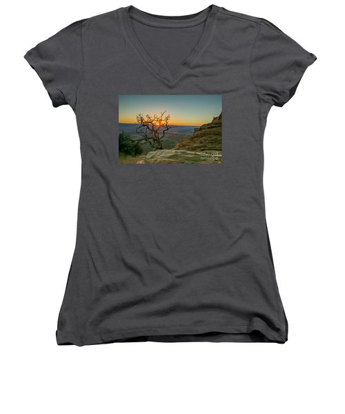 Women's V-Neck T-Shirt (Junior Cut) featuring the photograph Moab Tree by Kristal Kraft