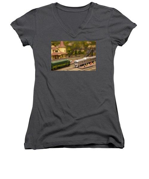 Model Trains Women's V-Neck T-Shirt (Junior Cut) by Patrice Zinck
