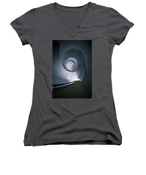 Modern Blue Spiral Staircase Women's V-Neck T-Shirt (Junior Cut) by Jaroslaw Blaminsky