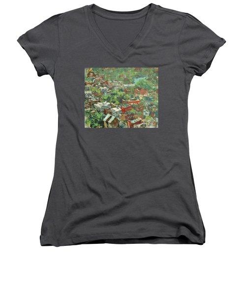 Women's V-Neck T-Shirt (Junior Cut) featuring the painting Modern Cityscape Painting Featuring Downtown Richmond Virginia by Robert Joyner