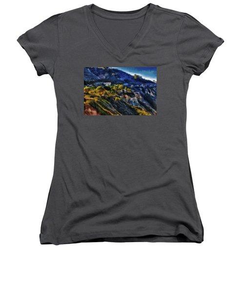 Modern Cliff Dwellers Women's V-Neck T-Shirt (Junior Cut) by Joseph Hollingsworth