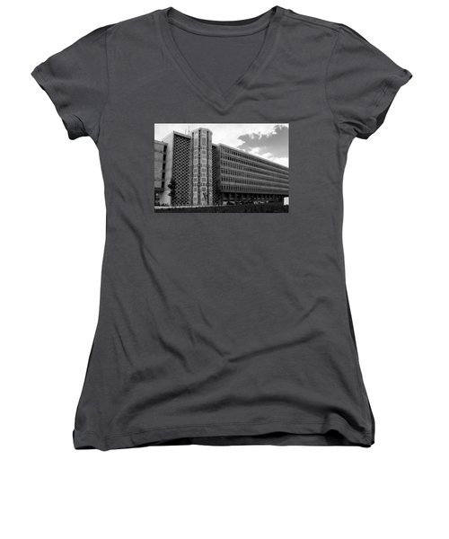 Women's V-Neck T-Shirt (Junior Cut) featuring the photograph Modern Lisbon - The Palace Of Justice by Lorraine Devon Wilke