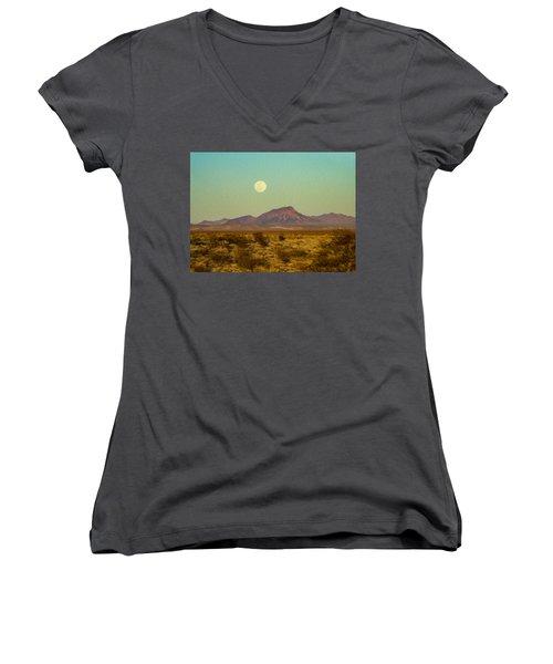 Mohave Desert Moon Women's V-Neck T-Shirt