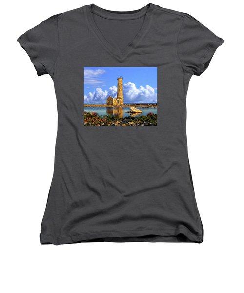 Mohawk Island Lighthouse Women's V-Neck T-Shirt (Junior Cut) by Anthony Dezenzio
