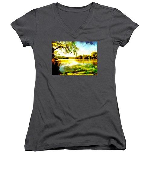 Women's V-Neck T-Shirt featuring the painting Mohegan Lake Hidden Oasis by Derek Gedney