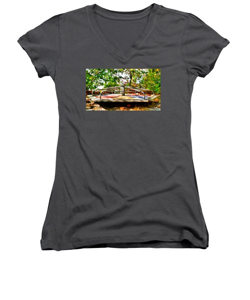 Women's V-Neck T-Shirt featuring the painting Mohegan Lake Merry-go-round by Derek Gedney