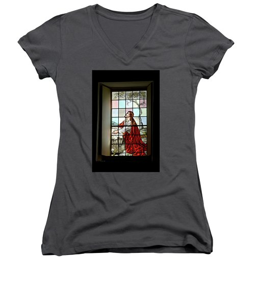 Mokuaikaua Church Stained Glass Window Women's V-Neck (Athletic Fit)