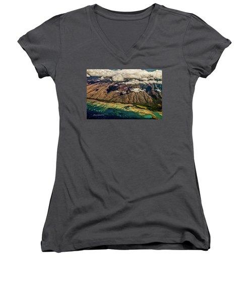 Molokai From The Sky Women's V-Neck T-Shirt (Junior Cut) by Joann Copeland-Paul