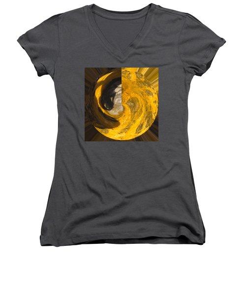 Molten Gold Planet Women's V-Neck