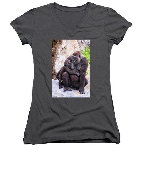 Mom And Baby Gorilla Sitting Women's V-Neck T-Shirt (Junior Cut) by Stephanie Hayes