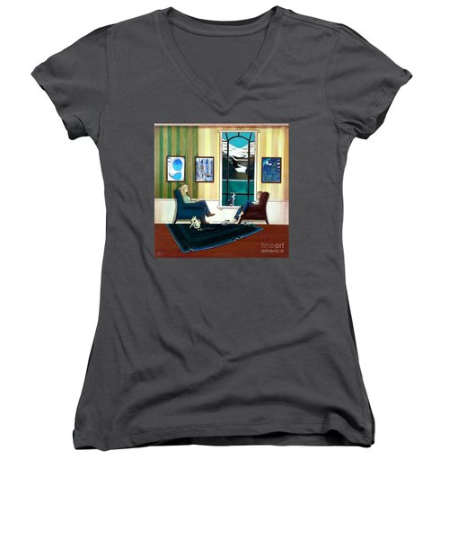 Mom And Daughter Sitting In Chairs With Sphynxes Women's V-Neck (Athletic Fit)