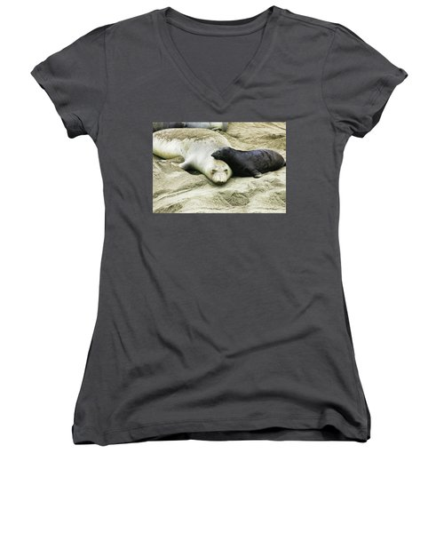 Women's V-Neck T-Shirt (Junior Cut) featuring the photograph Mom And Pup by Anthony Jones