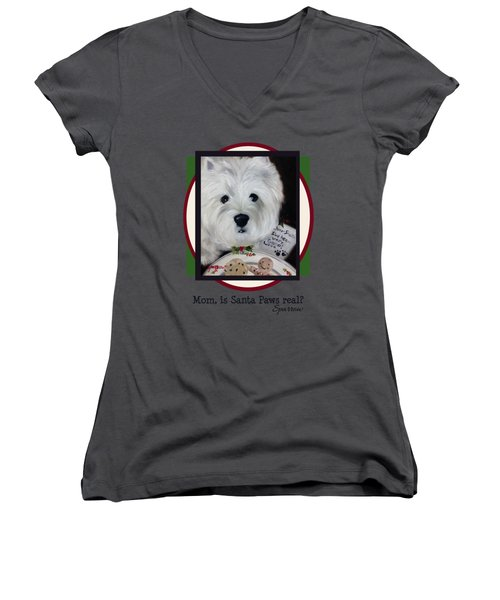 Mom Is Santa Paws Real Women's V-Neck T-Shirt