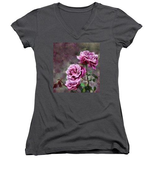 Women's V-Neck T-Shirt (Junior Cut) featuring the digital art Moms Roses by Susan Kinney