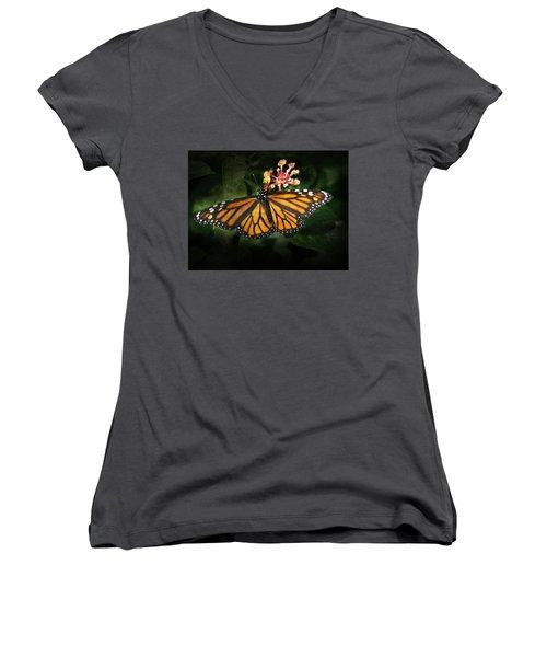 Monarch Butterfly On Lantana Women's V-Neck (Athletic Fit)