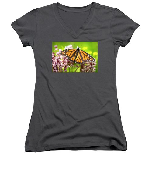 Women's V-Neck T-Shirt featuring the photograph Monarch Butterfly Closeup  by Ricky L Jones