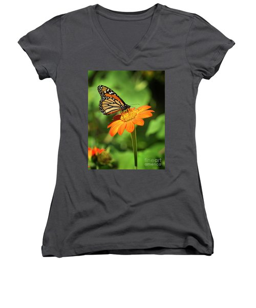 Monarch Butterfly II Vertical Women's V-Neck (Athletic Fit)