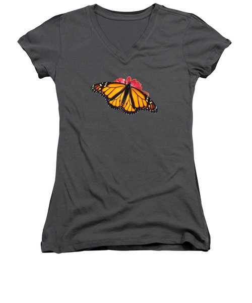 Women's V-Neck featuring the photograph Monarch Butterfly On Red Mums by Christina Rollo