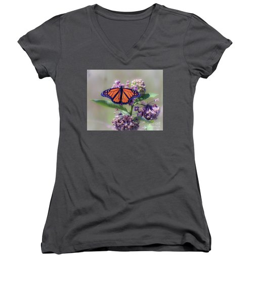 Women's V-Neck T-Shirt featuring the photograph Monarch On The Milkweed by Kerri Farley