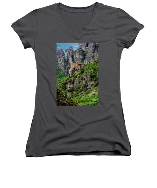 Monastery Of Saint Nicholas Of Anapafsas, Meteora, Greece Women's V-Neck (Athletic Fit)