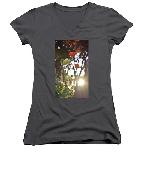 Monday Morning Sunrise Women's V-Neck T-Shirt (Junior Cut) by John Glass