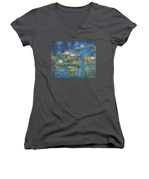 Monet Style Water Lily Marsh Wetland Landscape Painting Women's V-Neck