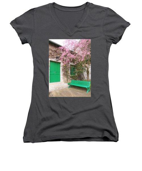 Monet's Bench Women's V-Neck T-Shirt (Junior Cut) by Catherine Alfidi