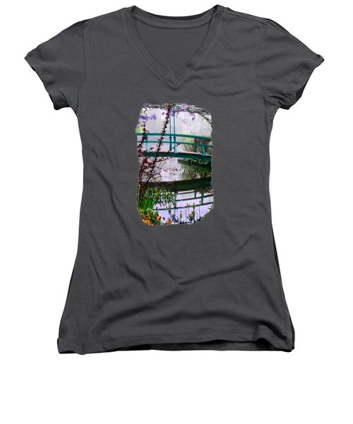 Women's V-Neck T-Shirt (Junior Cut) featuring the photograph Monet's Bridge by Jim Hill