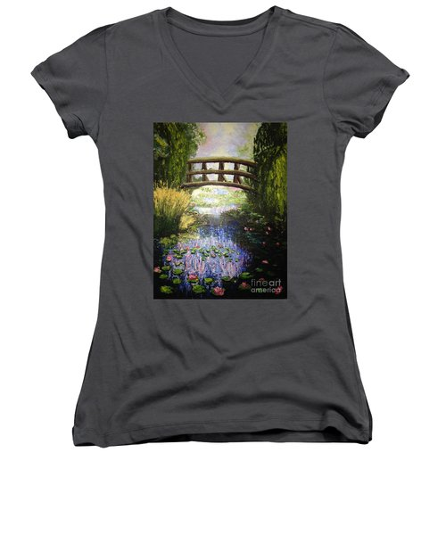 Monet's Bridge Women's V-Neck T-Shirt