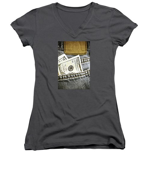 Women's V-Neck T-Shirt (Junior Cut) featuring the photograph Money Jeans by Trish Mistric