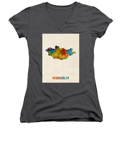 Women's V-Neck T-Shirt (Junior Cut) featuring the digital art Mongolia Watercolor Map by Michael Tompsett