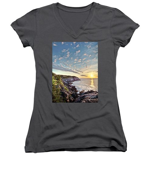 Monhegan East Shore Women's V-Neck T-Shirt (Junior Cut) by Tom Cameron
