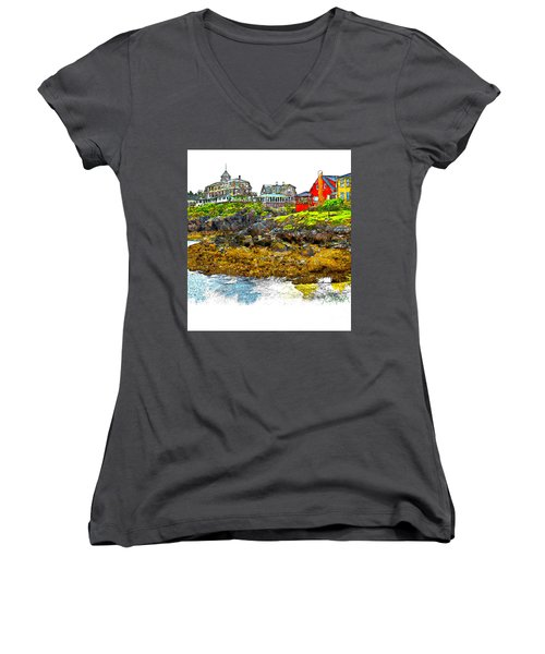 Women's V-Neck T-Shirt (Junior Cut) featuring the photograph Monhegan West Shore by Tom Cameron