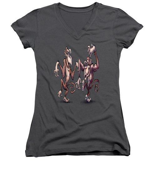 Monkey Dance Women's V-Neck T-Shirt (Junior Cut) by Kevin Middleton