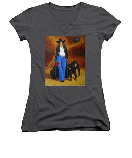 Monkeys Best Friend Women's V-Neck T-Shirt (Junior Cut) by Lance Headlee