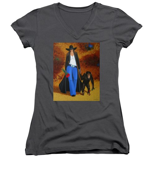 Monkeys Best Friend Women's V-Neck T-Shirt