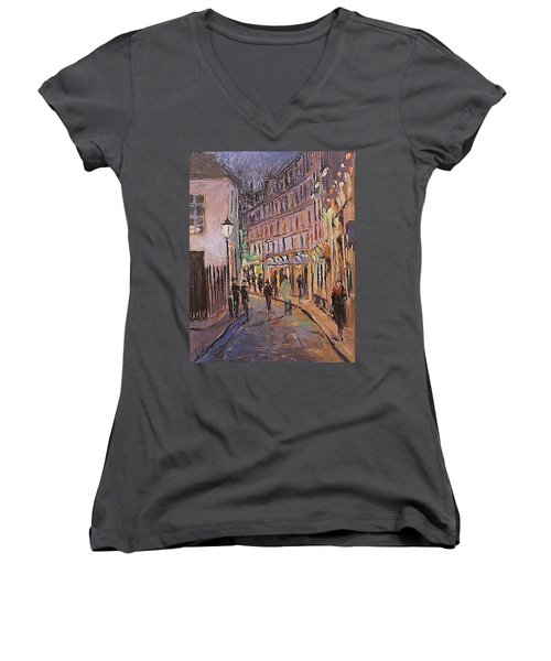 Women's V-Neck T-Shirt (Junior Cut) featuring the painting Monmartre by Walter Casaravilla